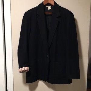 JCrew Black wool-blend blazer w/ color lining-s 14